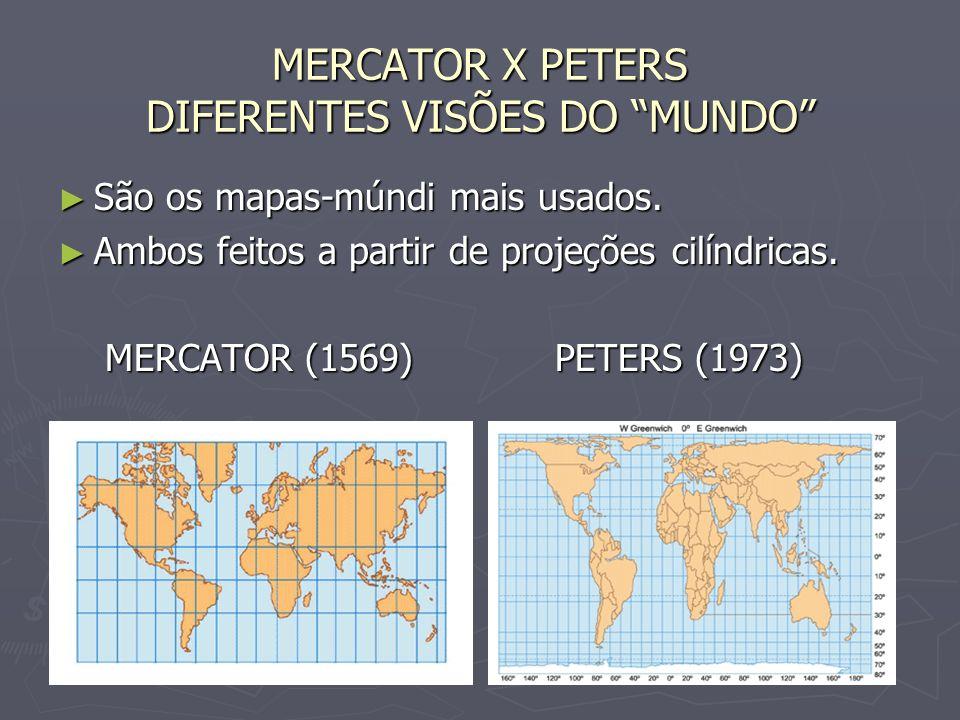 MERCATOR X PETERS DIFERENTES VISÕES DO MUNDO São os mapas-múndi mais usados.