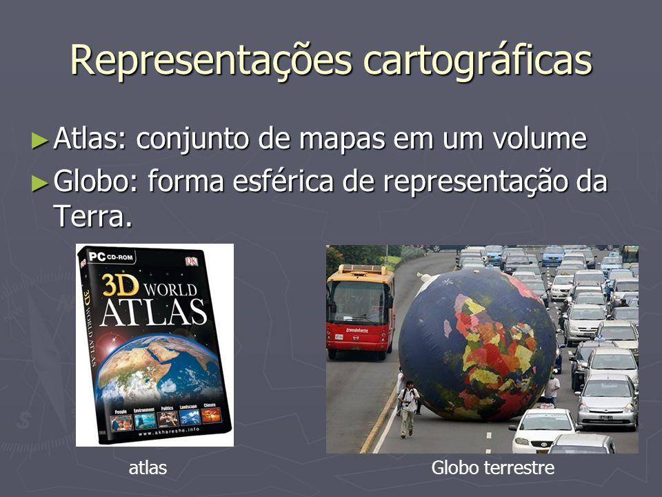 Representações cartográficas Atlas: conjunto de mapas em um volume Atlas: conjunto de mapas em um volume Globo: forma esférica de representação da Terra.