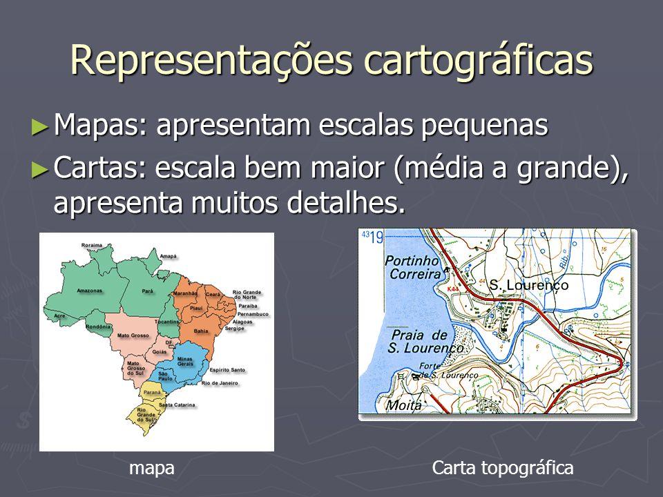 Representações cartográficas Mapas: apresentam escalas pequenas Mapas: apresentam escalas pequenas Cartas: escala bem maior (média a grande), apresenta muitos detalhes.
