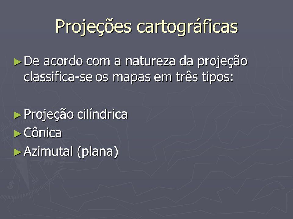 Projeções cartográficas De acordo com a natureza da projeção classifica-se os mapas em três tipos: De acordo com a natureza da projeção classifica-se os mapas em três tipos: Projeção cilíndrica Projeção cilíndrica Cônica Cônica Azimutal (plana) Azimutal (plana)