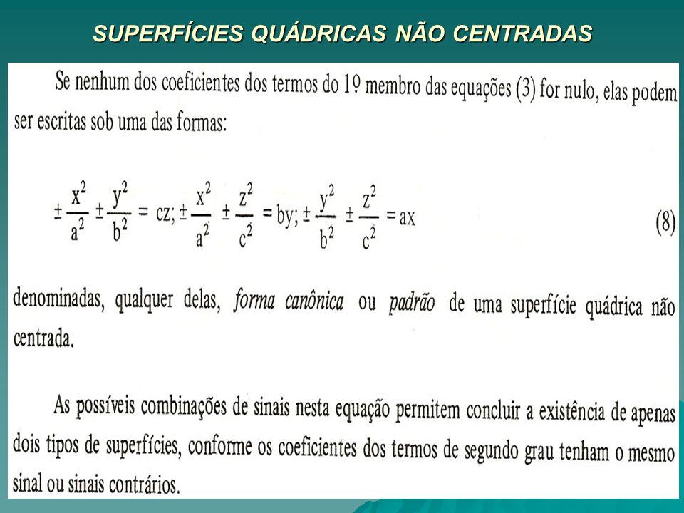 SUPERFÍCIES QUÁDRICAS NÃO CENTRADAS