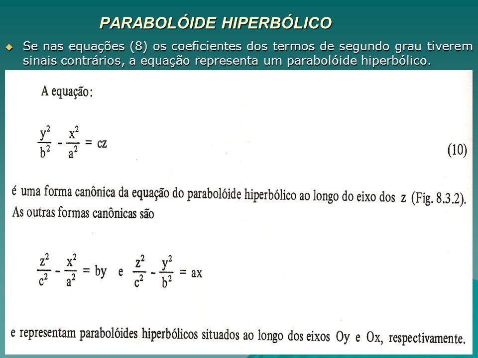 PARABOLÓIDE HIPERBÓLICO Se nas equações (8) os coeficientes dos termos de segundo grau tiverem sinais contrários, a equação representa um parabolóide
