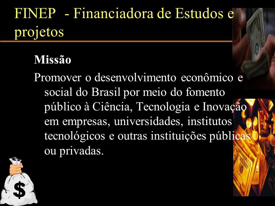 FINEP - Financiadora de Estudos e projetos Missão Promover o desenvolvimento econômico e social do Brasil por meio do fomento público à Ciência, Tecno