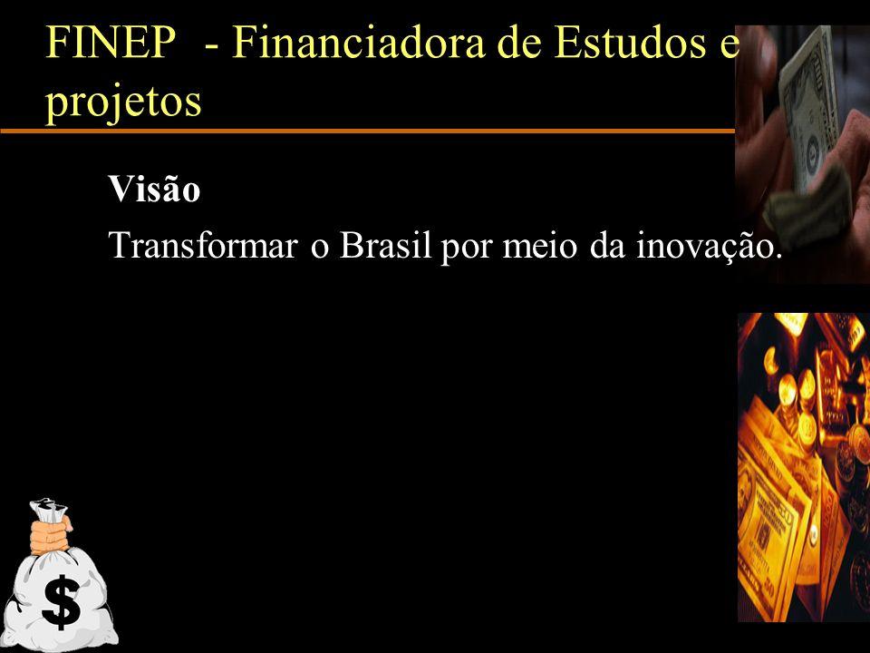 FINEP - Financiadora de Estudos e projetos Visão Transformar o Brasil por meio da inovação.