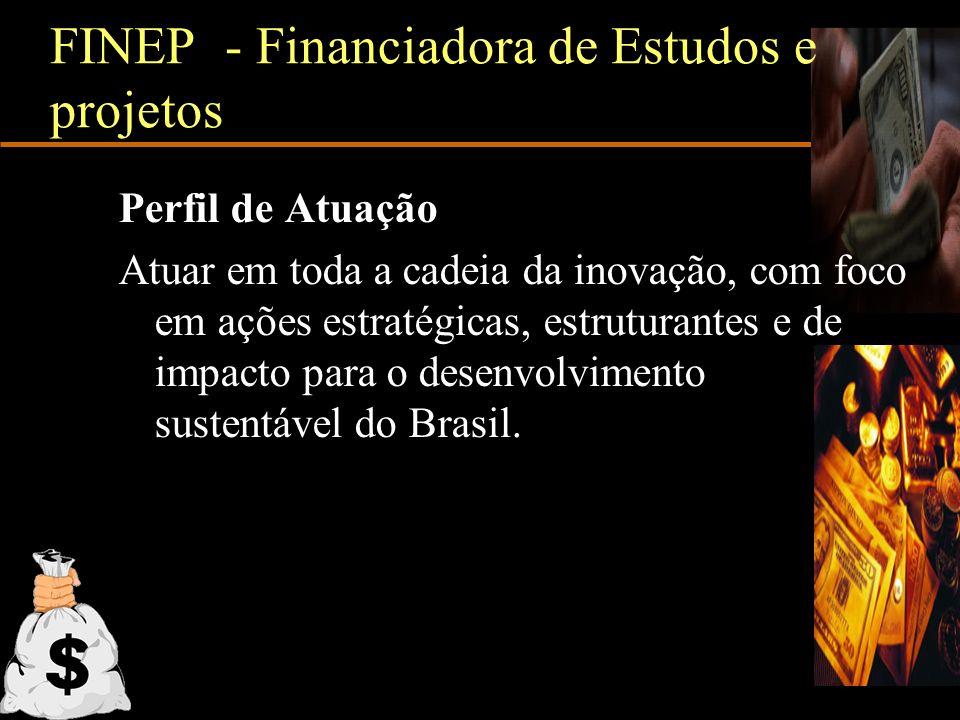 FINEP - Financiadora de Estudos e projetos Perfil de Atuação Atuar em toda a cadeia da inovação, com foco em ações estratégicas, estruturantes e de im