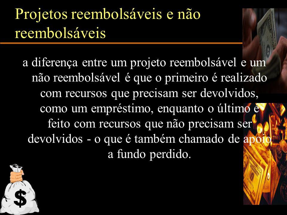 Projetos reembolsáveis e não reembolsáveis a diferença entre um projeto reembolsável e um não reembolsável é que o primeiro é realizado com recursos q