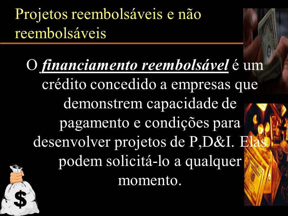 Projetos reembolsáveis e não reembolsáveis O financiamento reembolsável é um crédito concedido a empresas que demonstrem capacidade de pagamento e con