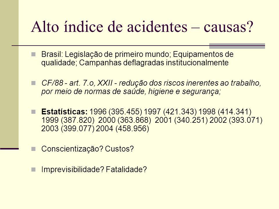Alto índice de acidentes – causas? Brasil: Legislação de primeiro mundo; Equipamentos de qualidade; Campanhas deflagradas institucionalmente CF/88 - a
