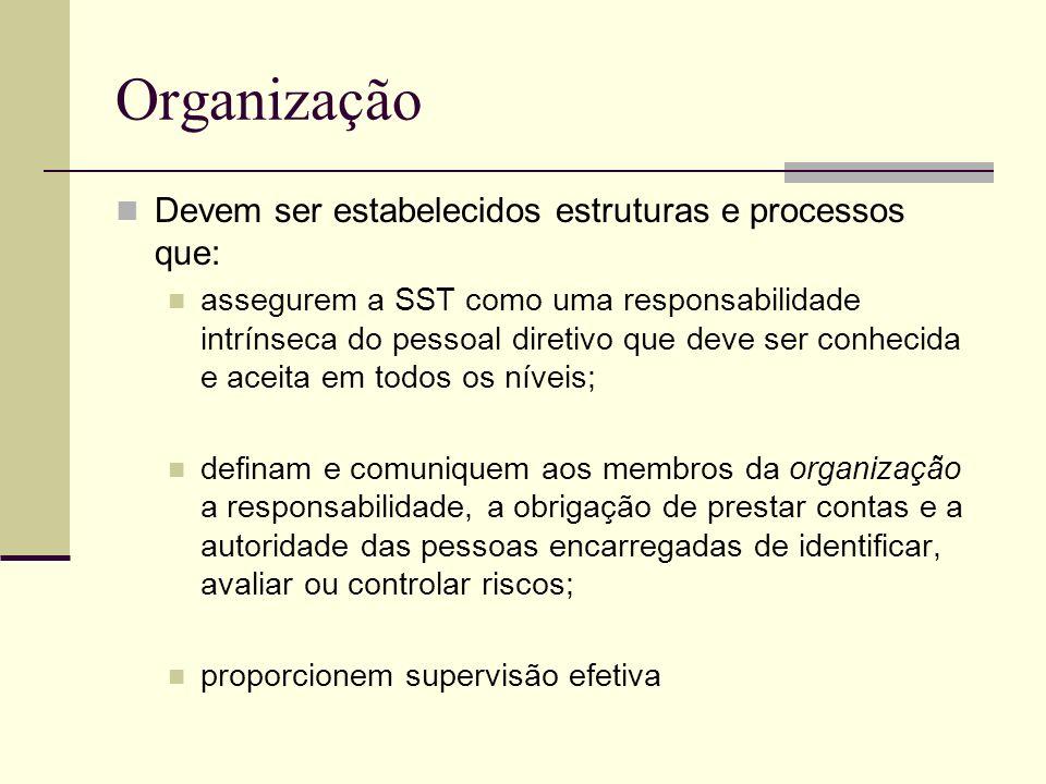 Organização Devem ser estabelecidos estruturas e processos que: assegurem a SST como uma responsabilidade intrínseca do pessoal diretivo que deve ser