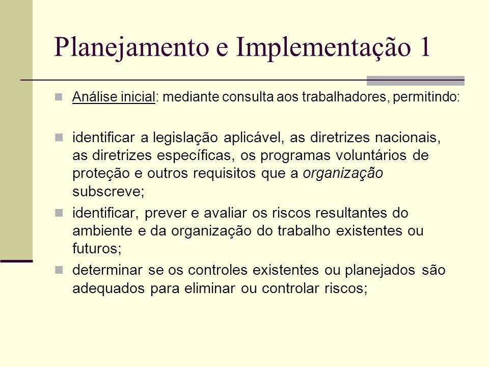 Planejamento e Implementação 1 Análise inicial: mediante consulta aos trabalhadores, permitindo: identificar a legislação aplicável, as diretrizes nac