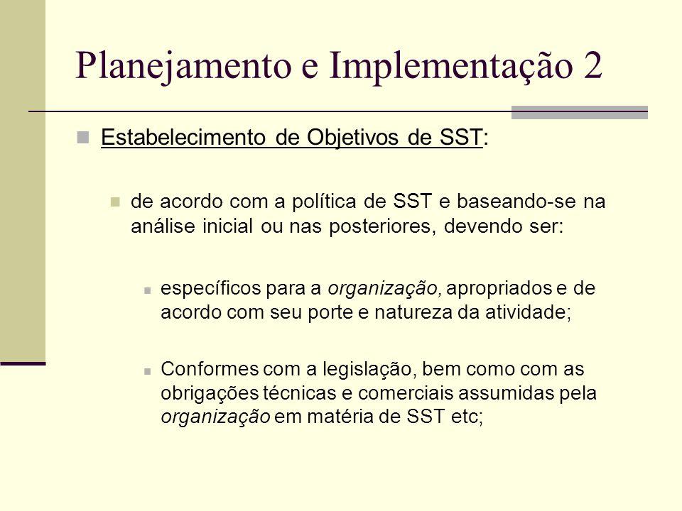 Planejamento e Implementação 2 Estabelecimento de Objetivos de SST: de acordo com a política de SST e baseando-se na análise inicial ou nas posteriore