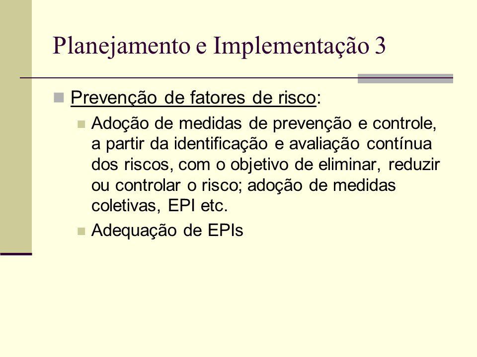 Planejamento e Implementação 3 Prevenção de fatores de risco: Adoção de medidas de prevenção e controle, a partir da identificação e avaliação contínu