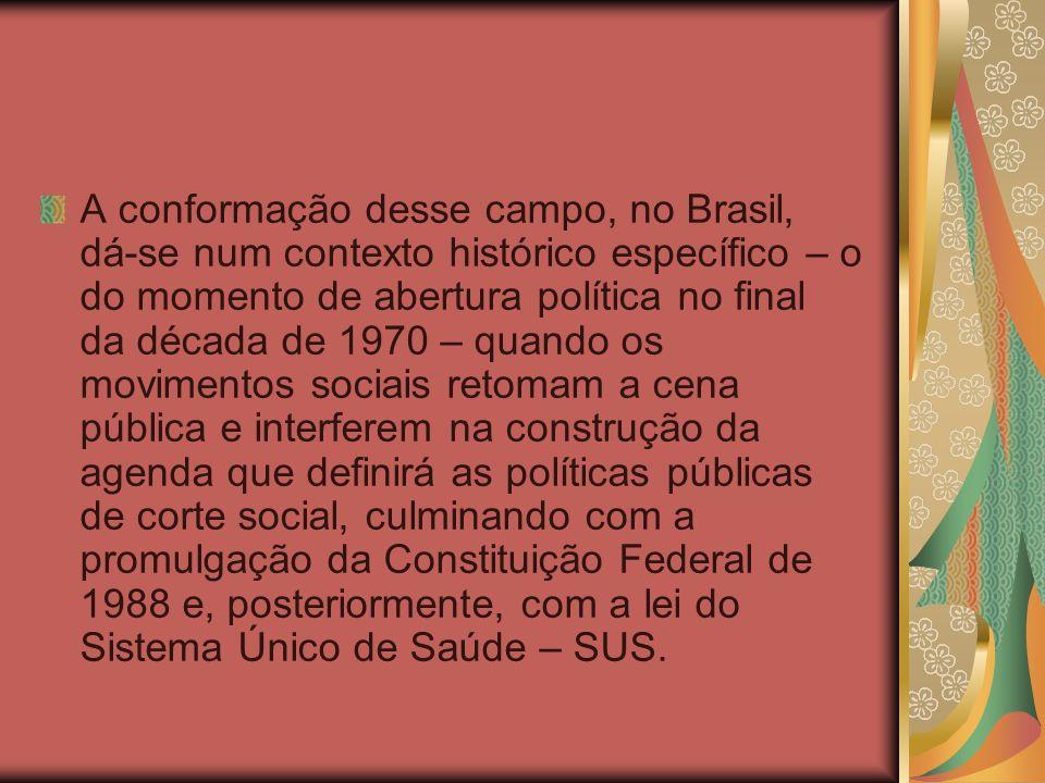 A conformação desse campo, no Brasil, dá-se num contexto histórico específico – o do momento de abertura política no final da década de 1970 – quando