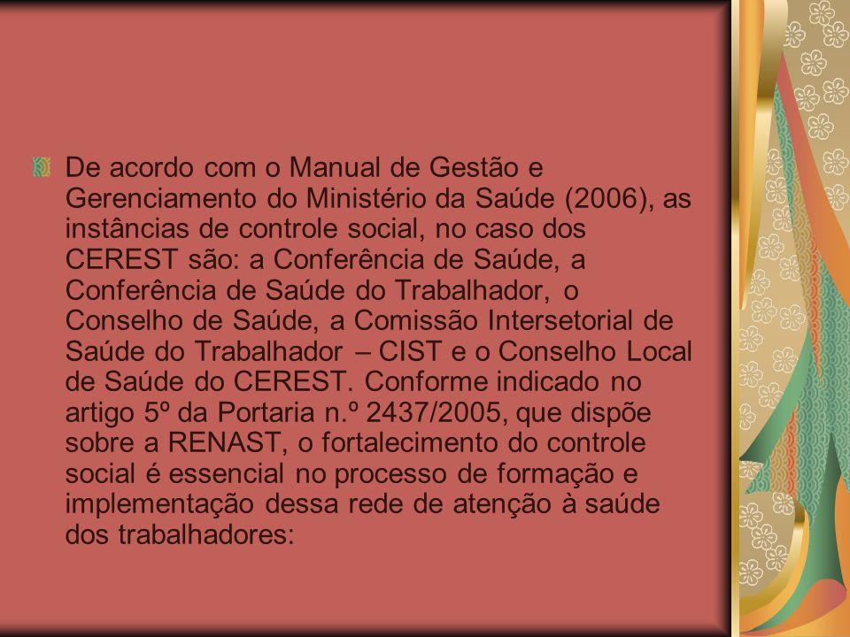 De acordo com o Manual de Gestão e Gerenciamento do Ministério da Saúde (2006), as instâncias de controle social, no caso dos CEREST são: a Conferênci