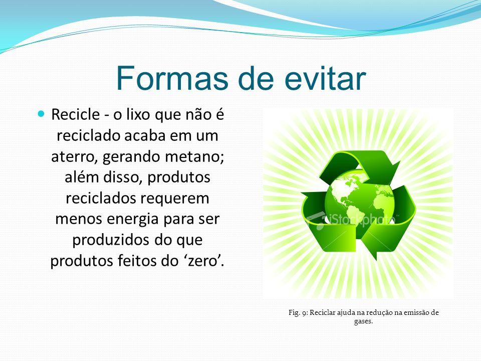 Formas de evitar Recicle - o lixo que não é reciclado acaba em um aterro, gerando metano; além disso, produtos reciclados requerem menos energia para ser produzidos do que produtos feitos do zero.