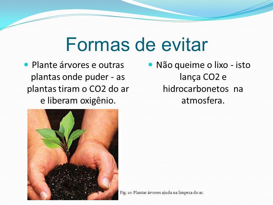 Formas de evitar Plante árvores e outras plantas onde puder - as plantas tiram o CO2 do ar e liberam oxigênio.
