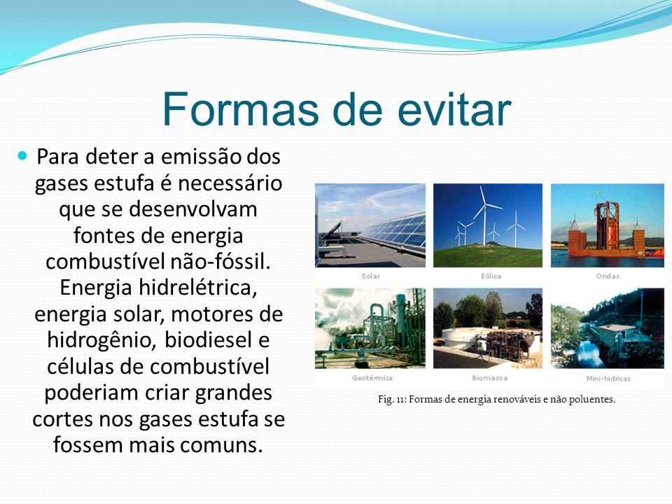 Formas de evitar Para deter a emissão dos gases estufa é necessário que se desenvolvam fontes de energia combustível não-fóssil.