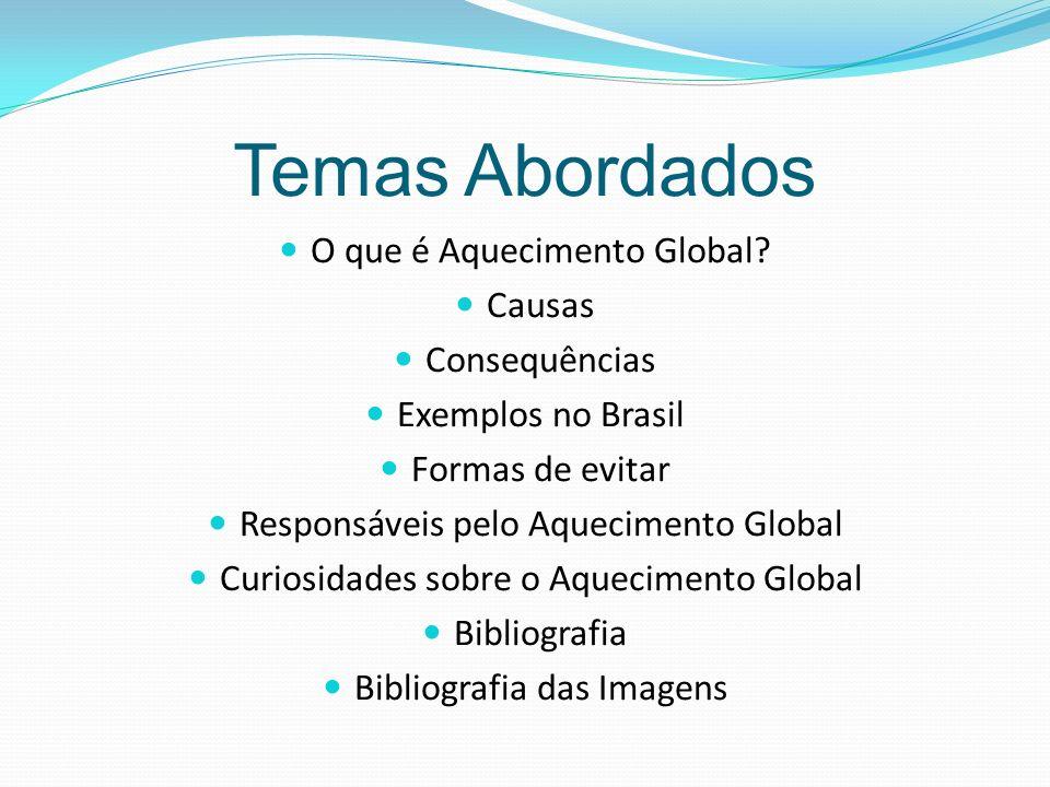 Temas Abordados O que é Aquecimento Global.