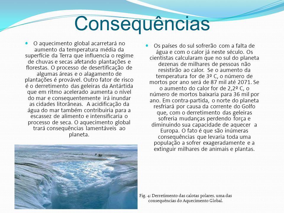 Consequências O aquecimento global acarretará no aumento da temperatura média da superfície da Terra que influencia o regime de chuvas e secas afetando plantações e florestas.