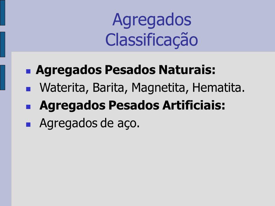 Agregados Classificação Agregados Pesados Naturais: Waterita, Barita, Magnetita, Hematita.