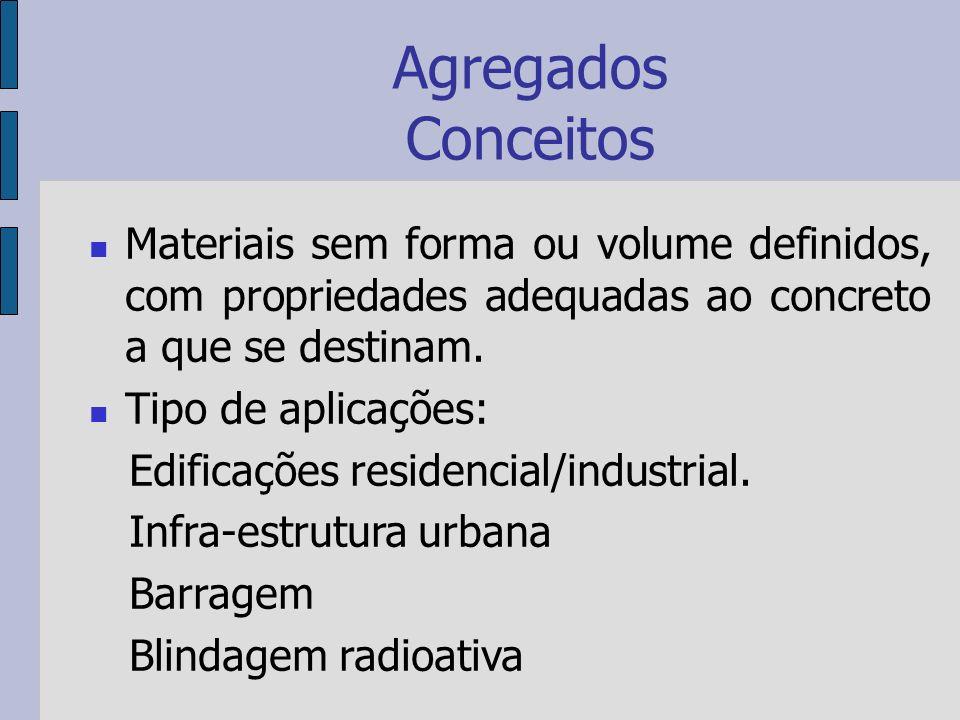 Agregados Conceitos Materiais sem forma ou volume definidos, com propriedades adequadas ao concreto a que se destinam.