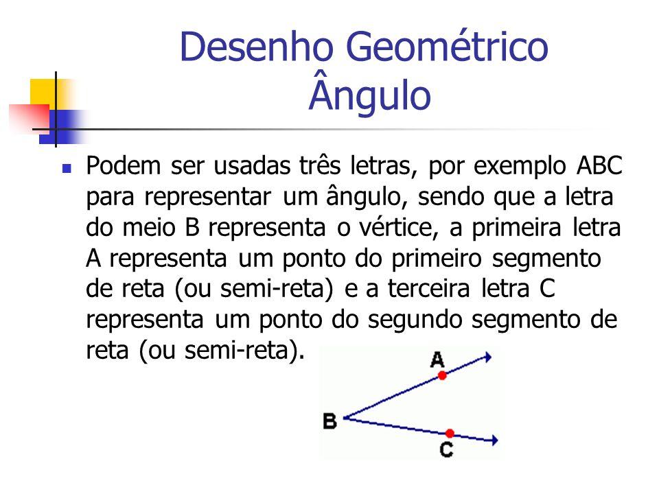 Desenho Geométrico Ângulo Podem ser usadas três letras, por exemplo ABC para representar um ângulo, sendo que a letra do meio B representa o vértice,