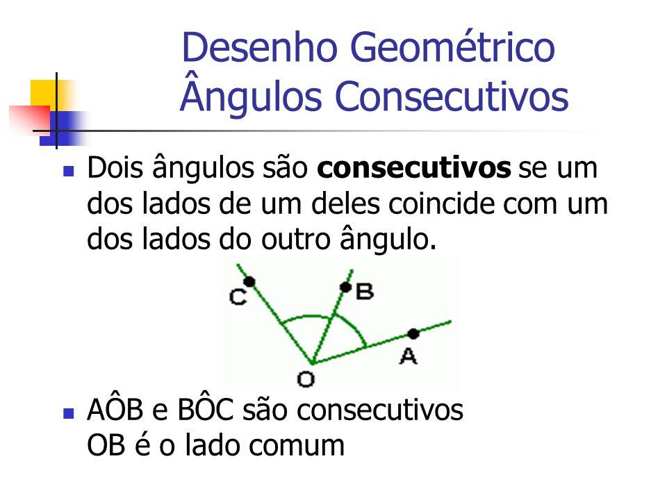 Desenho Geométrico Ângulos Consecutivos Dois ângulos são consecutivos se um dos lados de um deles coincide com um dos lados do outro ângulo. AÔB e BÔC