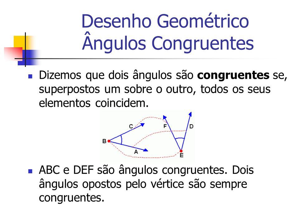 Desenho Geométrico Ângulos Congruentes Dizemos que dois ângulos são congruentes se, superpostos um sobre o outro, todos os seus elementos coincidem. A