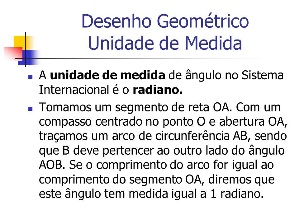 Desenho Geométrico Unidade de Medida A unidade de medida de ângulo no Sistema Internacional é o radiano. Tomamos um segmento de reta OA. Com um compas