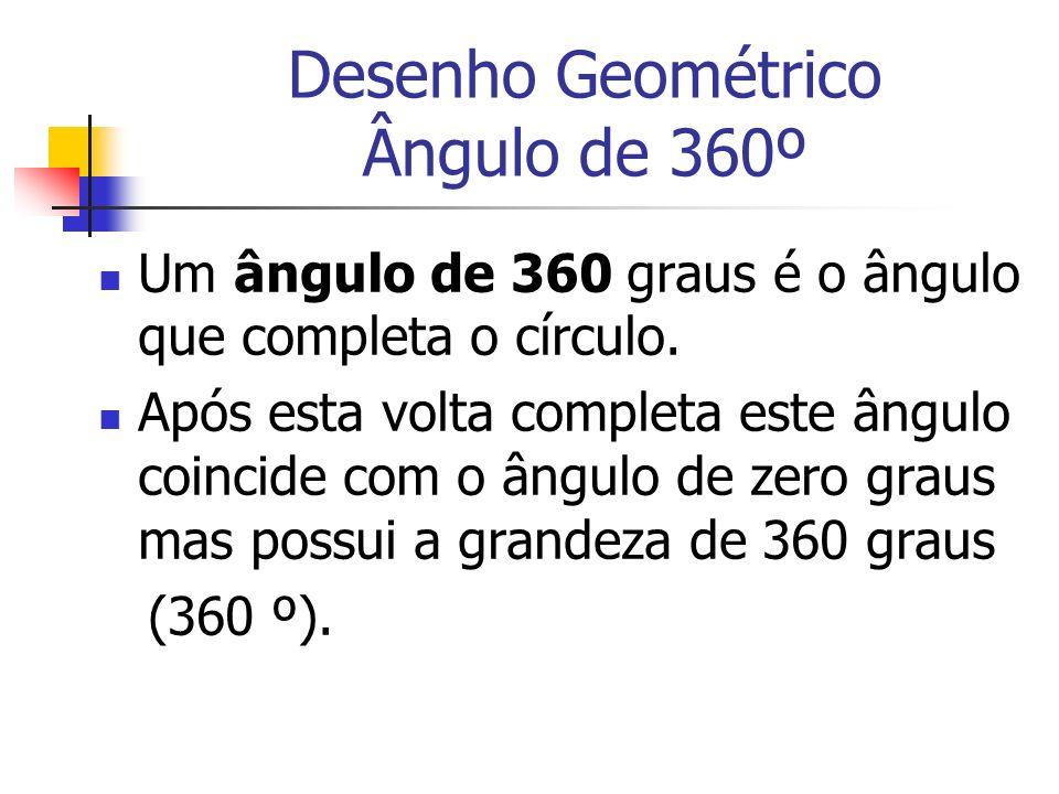 Desenho Geométrico Ângulo de 360º Um ângulo de 360 graus é o ângulo que completa o círculo. Após esta volta completa este ângulo coincide com o ângulo