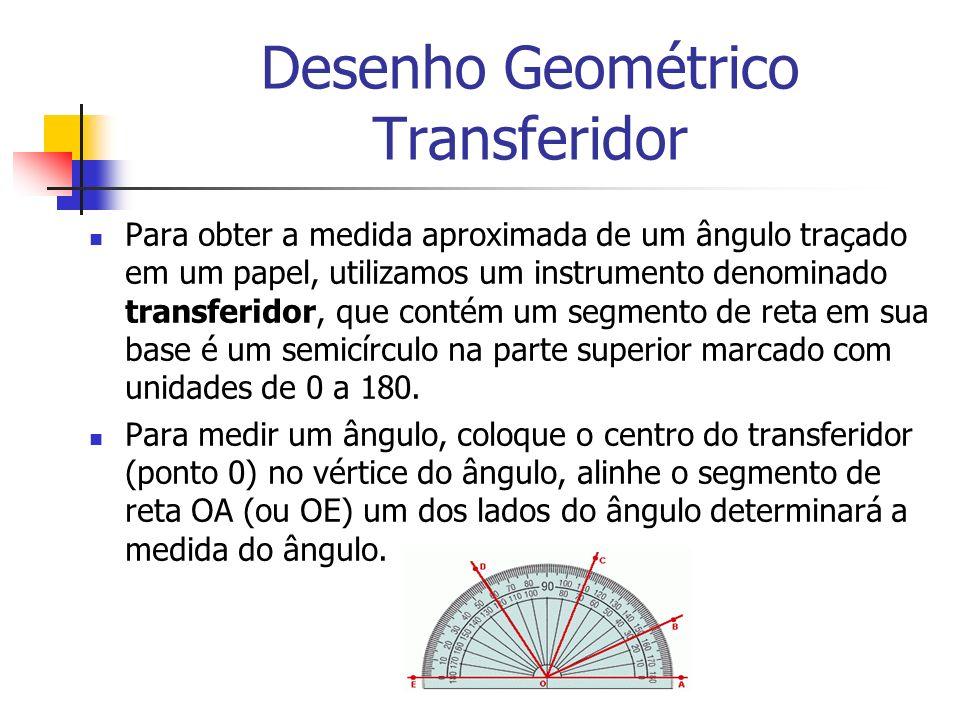 Desenho Geométrico Transferidor Para obter a medida aproximada de um ângulo traçado em um papel, utilizamos um instrumento denominado transferidor, qu