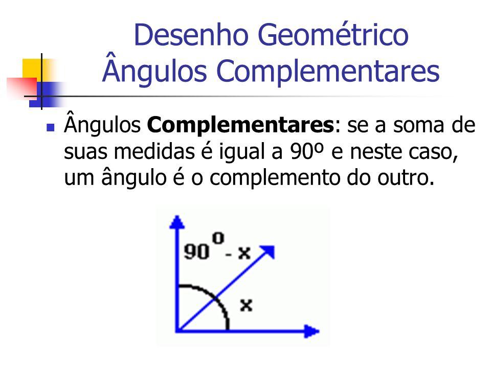 Desenho Geométrico Ângulos Complementares Ângulos Complementares: se a soma de suas medidas é igual a 90º e neste caso, um ângulo é o complemento do o