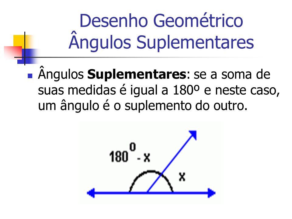 Desenho Geométrico Ângulos Suplementares Ângulos Suplementares: se a soma de suas medidas é igual a 180º e neste caso, um ângulo é o suplemento do out