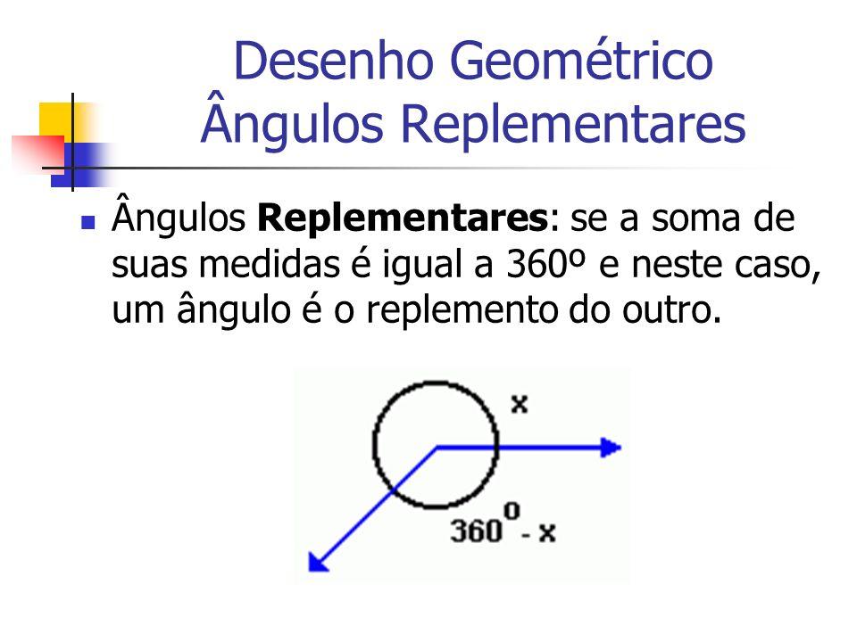 Desenho Geométrico Ângulos Replementares Ângulos Replementares: se a soma de suas medidas é igual a 360º e neste caso, um ângulo é o replemento do out