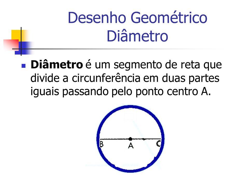 Desenho Geométrico Diâmetro Diâmetro é um segmento de reta que divide a circunferência em duas partes iguais passando pelo ponto centro A.