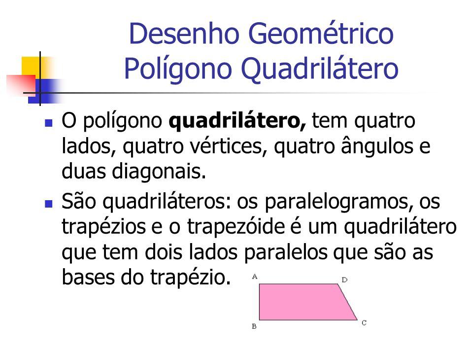 Desenho Geométrico Polígono Quadrilátero O polígono quadrilátero, tem quatro lados, quatro vértices, quatro ângulos e duas diagonais. São quadrilátero