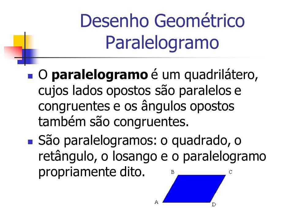 Desenho Geométrico Paralelogramo O paralelogramo é um quadrilátero, cujos lados opostos são paralelos e congruentes e os ângulos opostos também são co