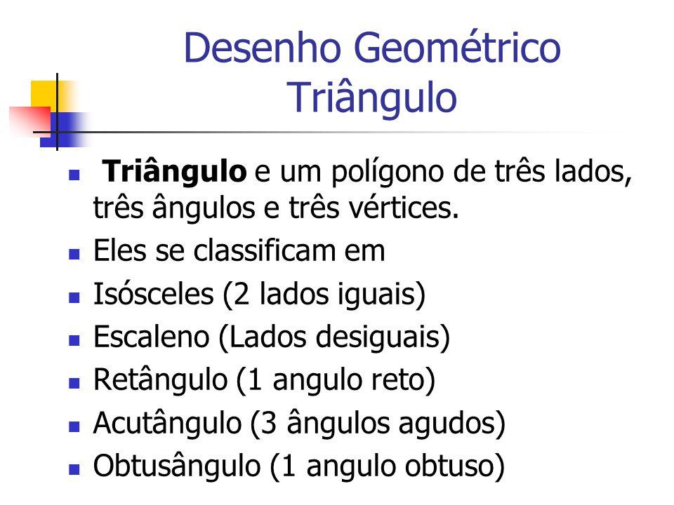 Desenho Geométrico Triângulo Triângulo e um polígono de três lados, três ângulos e três vértices. Eles se classificam em Isósceles (2 lados iguais) Es