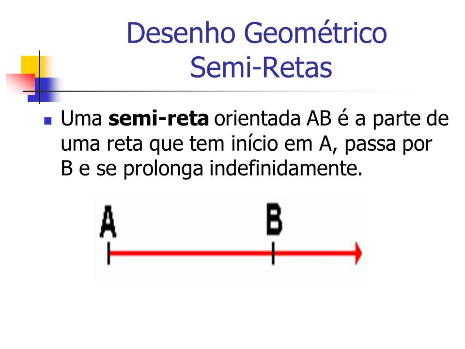 Desenho Geométrico Semi-Retas Uma semi-reta orientada AB é a parte de uma reta que tem início em A, passa por B e se prolonga indefinidamente.