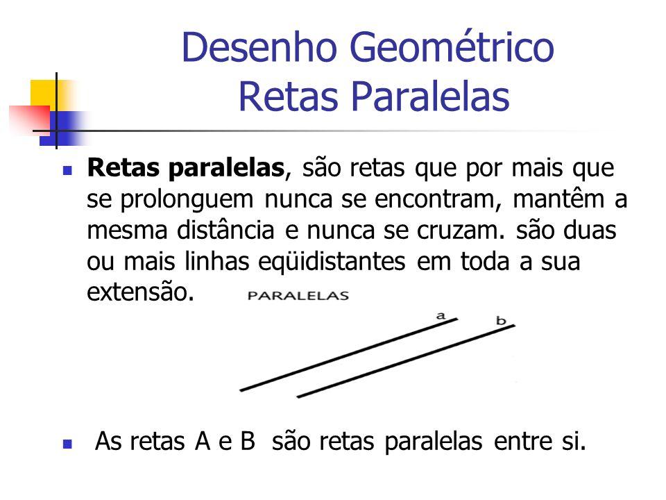 Desenho Geométrico Retas Paralelas Retas paralelas, são retas que por mais que se prolonguem nunca se encontram, mantêm a mesma distância e nunca se c