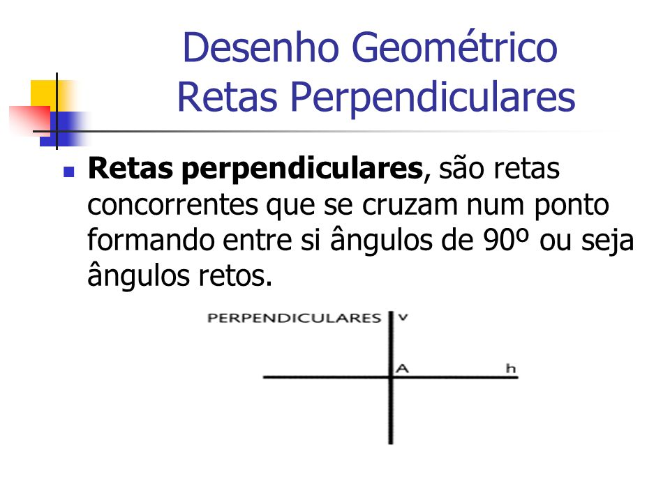 Desenho Geométrico Retas Perpendiculares Retas perpendiculares, são retas concorrentes que se cruzam num ponto formando entre si ângulos de 90º ou sej