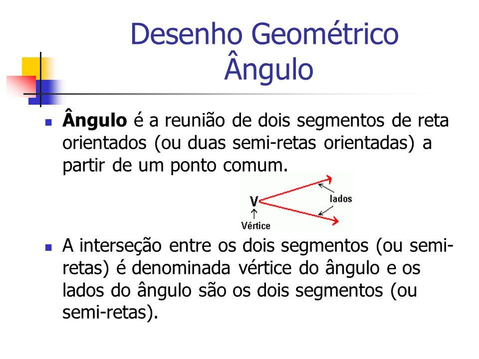 Desenho Geométrico Ângulo Ângulo é a reunião de dois segmentos de reta orientados (ou duas semi-retas orientadas) a partir de um ponto comum. A inters