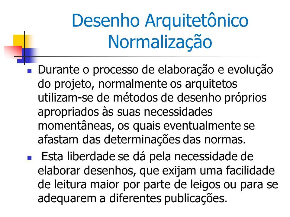 Desenho Arquitetônico Normalização Durante o processo de elaboração e evolução do projeto, normalmente os arquitetos utilizam-se de métodos de desenho