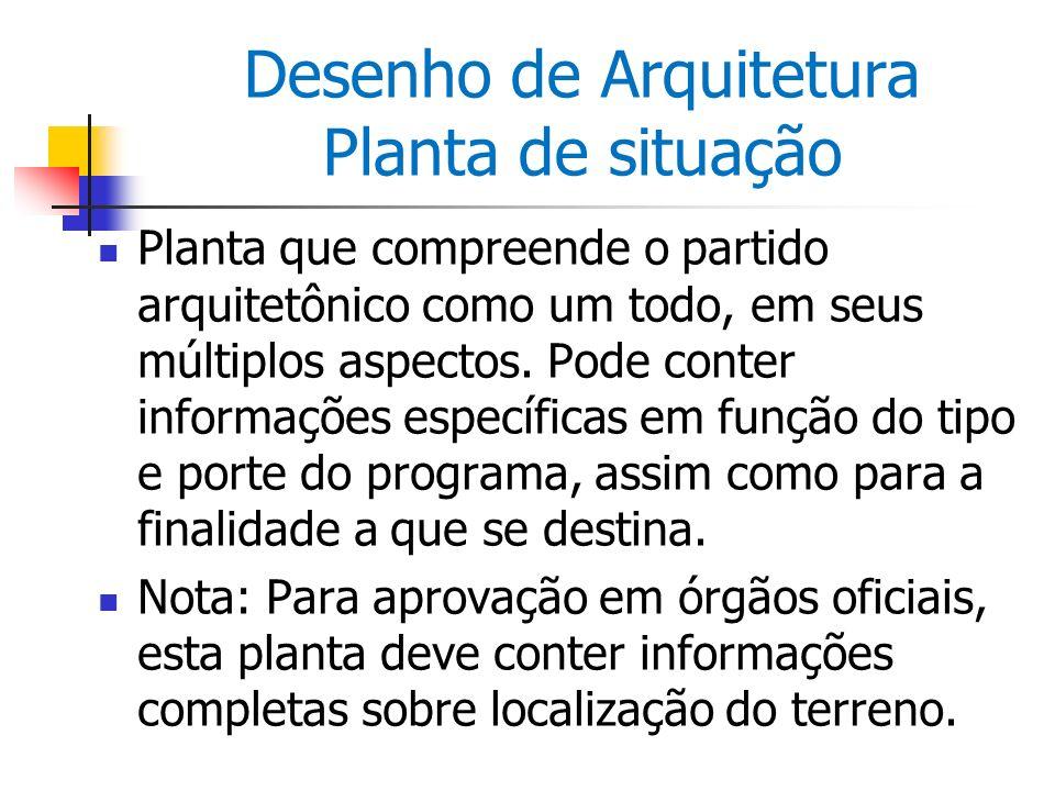 Desenho de Arquitetura Planta de situação Planta que compreende o partido arquitetônico como um todo, em seus múltiplos aspectos. Pode conter informaç