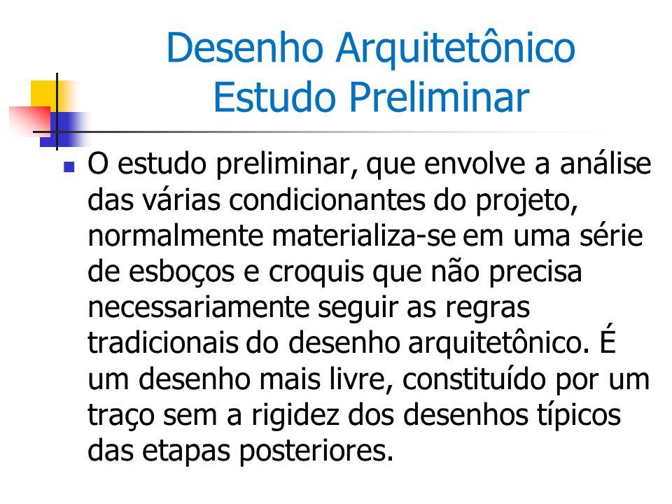Desenho Arquitetônico Estudo Preliminar O estudo preliminar, que envolve a análise das várias condicionantes do projeto, normalmente materializa-se em