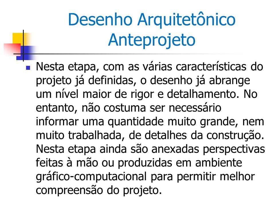 Desenho Arquitetônico Anteprojeto Nesta etapa, com as várias características do projeto já definidas, o desenho já abrange um nível maior de rigor e d