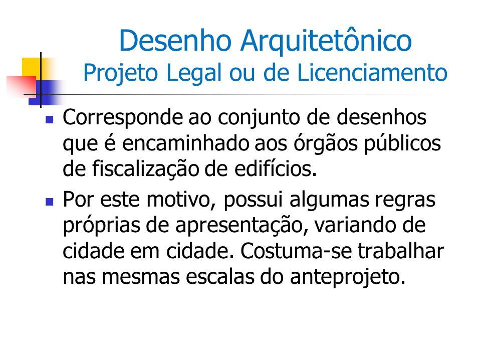 Desenho Arquitetônico Projeto Legal ou de Licenciamento Corresponde ao conjunto de desenhos que é encaminhado aos órgãos públicos de fiscalização de e