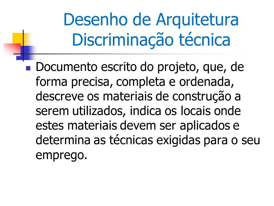 Desenho de Arquitetura Discriminação técnica Documento escrito do projeto, que, de forma precisa, completa e ordenada, descreve os materiais de constr