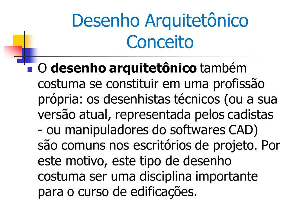 Desenho Arquitetônico Conceito O desenho arquitetônico também costuma se constituir em uma profissão própria: os desenhistas técnicos (ou a sua versão
