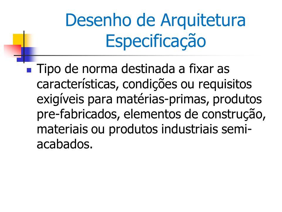 Desenho de Arquitetura Especificação Tipo de norma destinada a fixar as características, condições ou requisitos exigíveis para matérias-primas, produ